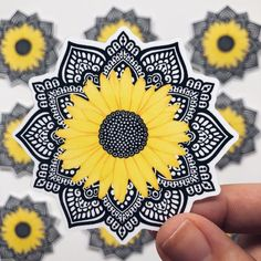 Mandala sunflower sticker Size - x inches Shipping world wide! All my stickers are waterproof and excellent quality! These stickers can be used on cars water bottles laptops phone cases books windows. Mandala Doodle, Mandala Drawing, Mandala Painting, Doodle Art, Mandala Tattoo Design, Tattoo Designs, Dibujos Zentangle Art, Zentangles, Sunflower Art