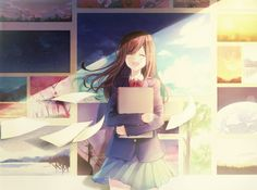 this cute anime girl has a lot of lovely backgrounds. she is quite the mangaka artist.