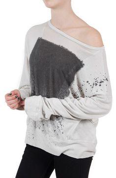 Loving the chic comfort of Raquel Allegra's Sheer Panel Pullover $200.00 #raquelallegra #tees #dianiboutique