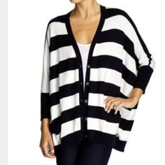 Michael Kors Oversized Cardigan in stripes Michael Kors Oversized Cardigan in stripes (black and white) Size S/M has two front pockets labeled buttons very small faint stain on front by button showed in picture. Good condition still. MICHAEL Michael Kors Sweaters Cardigans