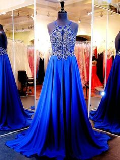 Scoop Neck Royal Blue Chiffon Crystal Detailing Backless Court Train Ball Dresses