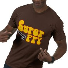 """""""This brown colored guys' shirt represents just a small fraction of the large number of awesome funny products that were put together online at Zazzle. Promoted in the imaginative designer, thelanguageemporium's Super Fry shop category, this men's regular American Apparel shirt, which is appropriately labeled the super fry (funny blaxploitation) shirt, is a really creative sampling of the super fry (funny blaxploitation) gear in the Zazzle marketplace. This funk t-shirt has a standard fit…"""