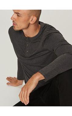 Bluzka z długim rękawem BASIC, T-shirty, szary, RESERVED