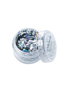 In Your Dreams Silver Selene Chunky Glitter is perfectly enchanting N versatile. Sprinkle this fab loose glitter containing a mixture of holographic stars, diamonds, circles and moons ya can easily mix with any body balm, lotion or gel and apply to yer face, hair and body for shine that won't disappoint.