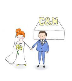 SAVE THE DATE   Custom Illustration   Original made to order custom illustration couple, wedding invitation (digital file)   Ring   Engagement