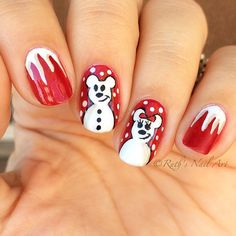 Mickey and Minnie Snowmen! #ruthsnailart #disney #nailart
