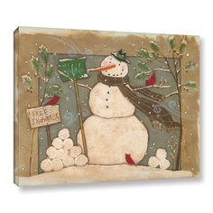 """The Holiday Aisle Seasonal Snowman Painting Print on Wrapped Canvas Size: 24"""" H x 32"""" W x 2"""" D"""