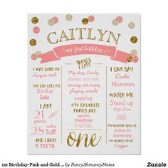 Birthday-Pink and Gold Glitter Poster - First Birthday. so much fun! Glitter Birthday Parties, Art Birthday, Pink Birthday, First Birthday Parties, First Birthdays, Happy Birthday, Birthday Ideas, Birthday Gifts, First Birthday Posters
