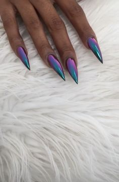 HOLO- could do this by mixing chrome powders Long Nails Loading. HOLO- could do this by mixing chrome powders Long nails pic Purple Chrome Nails, Purple Stiletto Nails, Black And Purple Nails, Purple Nail Designs, Long Acrylic Nails, Manicure E Pedicure, Hot Nails, Artificial Nails, Long Nails