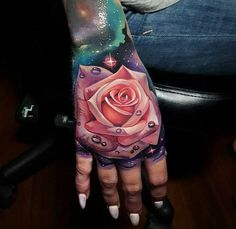 Tattoo in hand #tattoo #handtattoo #flowerinhand #pinkrose #rosetattoo