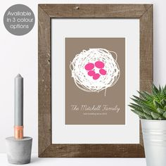 Personalised Family Print - Nest design £15.95 Nest Design, Print Design, Personalised Family Print, Housewarming Present, Unusual Gifts, Order Prints, House Warming, New Baby Products, Color Schemes
