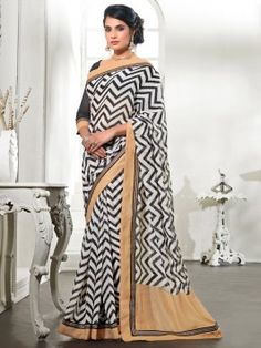 White Silk Saree With Print Work