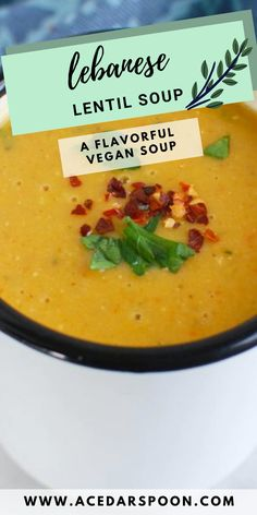 Lebanese Lentil Soup is rich, warming soup that combines red lentils, vegetables, curry powder, cumin and lemon juice. This soup naturally gluten-free and vegan, is easy to make and freezes well for later! // acedarspoon.com #lebanese #lentilsoup #vegan #vegetarian #soup Vegetarian Appetizers, Vegetarian Soup, Vegan Soup, Healthy Soup, Vegetarian Recipes, Lebanese Lentil Soup, Coconut Lentil Soup, Red Lentil Soup, Dinner Ideas
