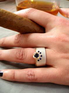 One of a Kind cultivated Blue Sapphire Engagement Ring - Sharon Z Jewelry in San Francisco made by Sharon Zimmerman