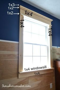 Simple instructions for creating farmhouse window trim without any fancy cuts and minimal fancy tools. - Crafts Diy Home Home Renovation, Home Remodeling, Farmhouse Renovation, Bedroom Remodeling, Farmhouse Interior, Farmhouse Furniture, Outdoor Furniture, Farmhouse Windows, Farmhouse Stairs