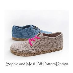 FLIP-FLOP OXFORDS - Crochet shoes for street wear. **This listing is for a CROCHET PATTERN. You are not buying a finished product! The shoes are worked on top of outsoles. In this case I have used my unique and new Flip-Flop sole method. Easy, fast, cheap, and wonderful to wear and