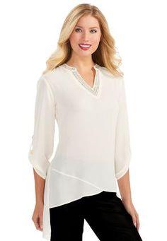 0850b8d2a61 Cato Fashions Semi Sheer Asymmetrical Tunic Top-Plus #CatoFashions Chico  Dresses, Dress Barn
