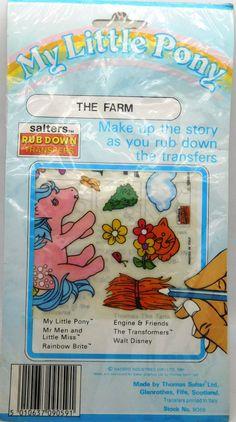 My Little Pony G1 Bubbles The Farm Rub Down Transfers Salters New MIP 1984