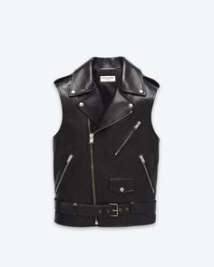 SLP Classic Motorcycle Vest In Black Leather