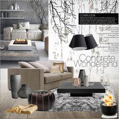 Concrete Wonderland by szaboesz on Polyvore featuring interior, interiors, interior design, home, home decor, interior decorating, nuLOOM, Blomus, ferm LIVING and NLXL