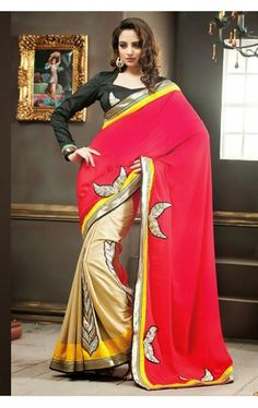 Picture of Royal Cream and Coral Red Color Georgette Saree