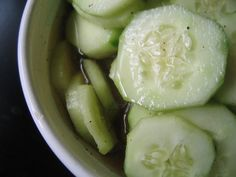 Cucumbers and vinegar a southern summer sunday supper always has this and fresh sliced tomatoes on the table reminds me of my summers!!!