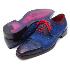 Paul Parkman Men's Handmade Shoes Captoe Suede Blue Oxfords (PM5226)