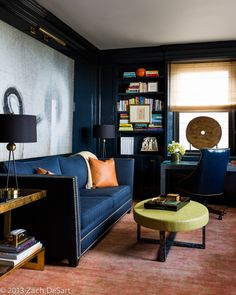 Interior Designer Celerie Kemble / Bachelor Pad Den / Masculine Decor / Navy Blue