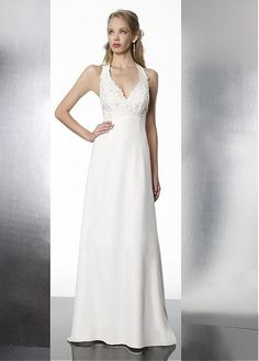 COMFORTABLE A-LINE HALTER V-NECK EMPIRE WAIST BEADED APPLIQUED CHIFFON WEDDING DRESSES LACE FORMAL PROM PARTY BALL GOWN