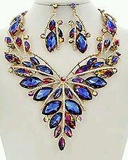 Lavish Multi-colored Statement Necklace Gold with Blue large crystals