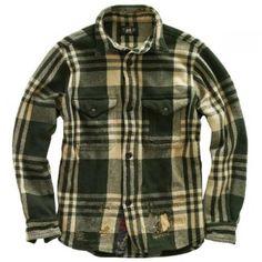 RRL リペア加工チェック柄ウールシャツ