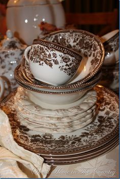 Brown Transferware dishes.