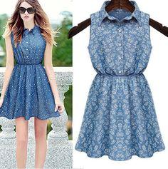 $28.00 | Denim Floral Dress MY0118FY