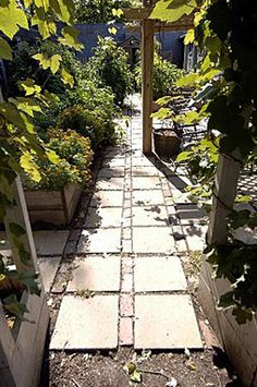 I like this idea for a garden path. It should be fairly inexpensive to make using landscape bricks and concrete stepping stones from the box stores.