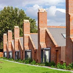 Tall brick chimney stacks and triangular gables characterise these London bungalows by Patel Taylor that are designed to house the area's retired residents
