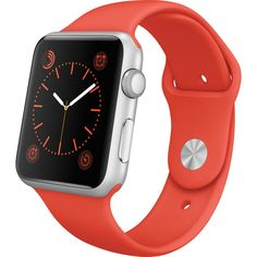 Apple Watch Sport 42mm Silver Smartwatch with Orange Band