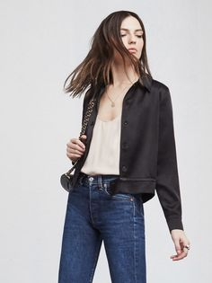 The Revelry Jacket is a silky satin back crepe bomber jacket with a pointed collar and long sleeves.   https://www.thereformation.com/products/revelry-jacket-black?utm_source=pinterest&utm_medium=organic&utm_campaign=PinterestOwnedPins