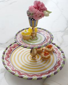 """Piccadilly"" Grandstand Tiered Server by MacKenzie-Childs at Neiman Marcus."