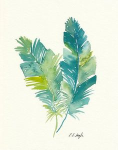 ORIGINAL WATERCOLOR PAINTING    Brightly colored bird feathers in teals and greens.    -Painted with professional grade watercolor paints on