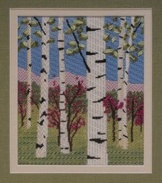 BB Needlepoint Designs - BB 71 Spring Birches Stitch guide available along with all four seasons