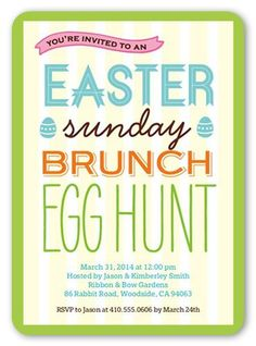 Sunday Brunch 5x7 Invitation Card by Yours Truly.