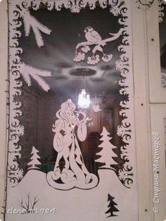 Интерьер Поделка изделие Новый год Вырезание Новогодние окошки Бумага фото 2
