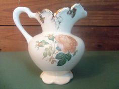 Ceramic Pitcher Beautiful Vintage Ceramic Floral by SETXTreasures