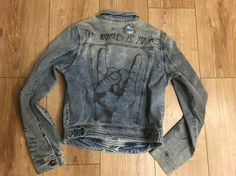 Denim Jacket with conversational graffiti graphic, light bleach out wash: we want to believe in alien and UFO ^_^ at www.unionmill.com jeans and woven garment supplier in Shanghai
