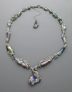 Rare California Abalone Pearl and Gem-set Necklace