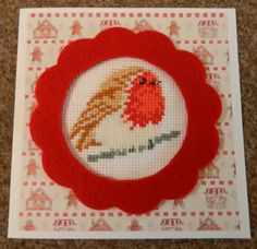 cross stitched christmas card with gorgeous red robin!