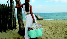 cinda b Beach Bag $139.00 in Casablanca Sky Blue
