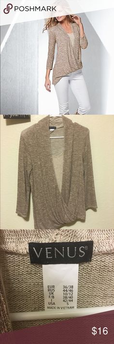 Gold Shimmer Top Venus Asymmetrical Top! 3/4 sleeve gold Shimmer! Perfect for fall and spring! Never worn, size small! Venus Tops