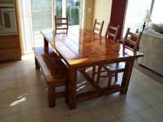 Farmhouse table and bench my husband and father-in-law made.