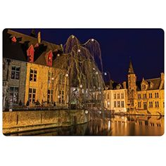 Cityscape Pet Mats for Food and Water by Lunarable, Photo of the Famous Canal in Bruges Belgium Heritage Architecture Landmark Print, Rectangle Non-Slip Rubber Mat for Dogs and Cats, Brown Navy ** You can get more details by clicking on the image. (This is an affiliate link) #DogFeedingWateringSupplies